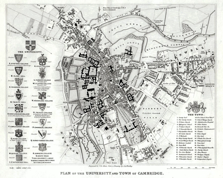 ANTIQUE PRINT: PLAN OF THE UNIVERSITY AND TOWN OF CAMBRIDGE.