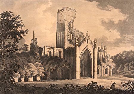 ANTIQUE PRINT: S. E. VIEW OF KIRKSTALL ABBEY.