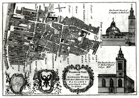 Antique Map of Walbrook Ward