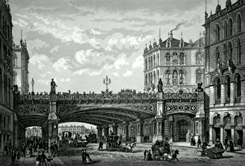 ANTIQUE PRINT: THE HOLBORN VIADUCT.