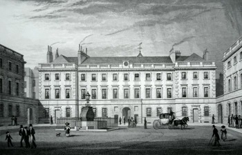 Antique print of Bart's Hospital