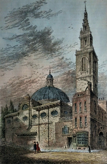 ANTIQUE PRINT: EXTERIOR OF ST. STEPHEN'S, WALBROOK, IN 1700.