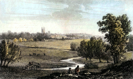 ANTIQUE PRINT: CRICKLADE, TAKEN NEAR EISEY CHAPEL.