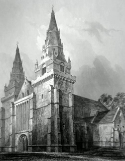 ANTIQUE PRINT: ABERDEEN CATHEDRAL, S.W.