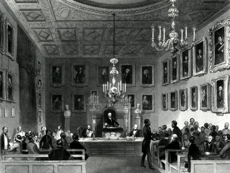 ANTIQUE PRINT: SOMERSET HOUSE. MEETING OF THE ROYAL SOCIETY.
