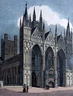 ANTIQUE PRINT: 79. WEST FRONT OF PETERBOROUGH CATHEDRAL.