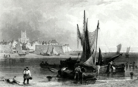 Antique print of Hartlepool, County Durham