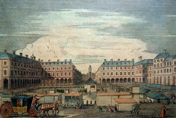 ANTIQUE PRINT: COVENT GARDEN MARKET, LOOKING EASTWARD. (FROM A PRINT OF 1786.)