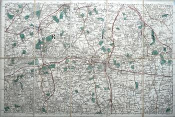 ANTIQUE MAP: [REIGATE, REDHILL, DORKING, ETC].
