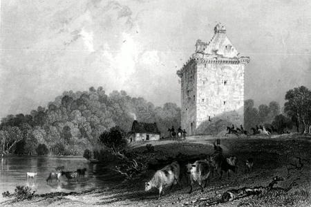 ANTIQUE PRINT: [CANONBIE] GILNOCKIE – OR JOHNNY ARMSTRONG'S TOWER. (DUMFRIES-SHIRE.)