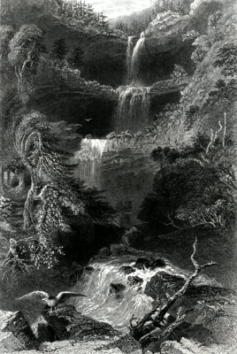 ANTIQUE PRINT: THE CATTERSKILL FALL [KAATERSKILL FALLS]. (FROM BELOW.)