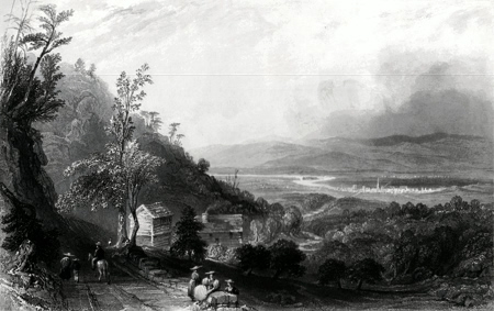 ANTIQUE PRINT: THE DESCENT INTO THE VALLEY OF WYOMING. (PENNSYLVANIA.)