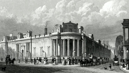 ANTIQUE PRINT: NORTH & WEST FRONT OF THE BANK OF ENGLAND, FROM LOTHBURY. TO JOHN SOANE, ESQR. THE ARCHITECT, THIS PLATE IS RESPECTFULLY INSCRIBED.