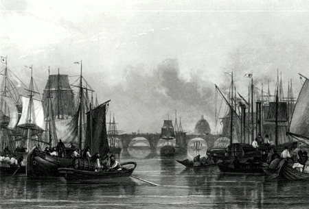 ANTIQUE PRINT: THE UPPER POOL [PORT OF LONDON].