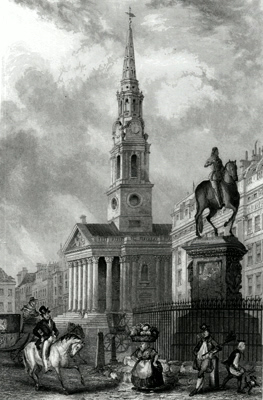 ANTIQUE PRINT: ST. MARTIN'S CHURCH FROM CHARING CROSS.