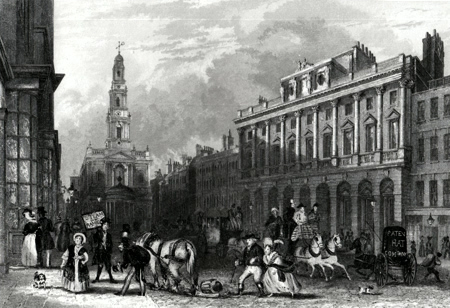 ANTIQUE PRINT: SOMERSET HOUSE, STRAND.