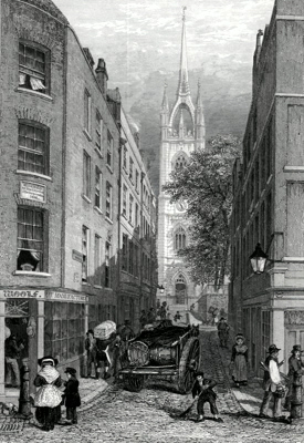 ANTIQUE PRINT: ST DUNSTAN'S IN THE EAST. FROM THE CUSTOM HOUSE.