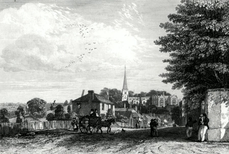 Antique print of Harrow, Middlesex