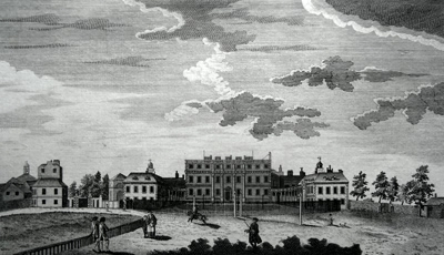 ANTIQUE PRINT: THE QUEEN'S PALACE IN ST. JAMES'S PARK.