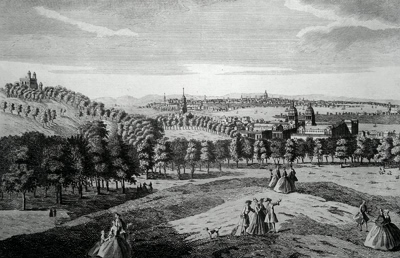 ANTIQUE PRINT: VIEW OF LONDON FROM GREENWICH PARK.