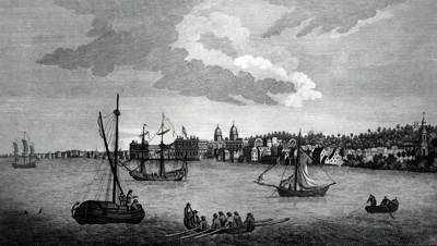 ANTIQUE PRINT: VIEW OF GREENWICH FROM DEPTFORD.