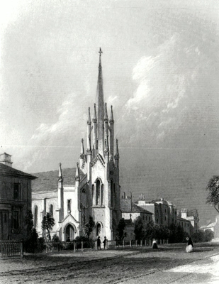 ANTIQUE PRINT: ST. MICHAEL'S CHURCH, STOCKWELL 1860.
