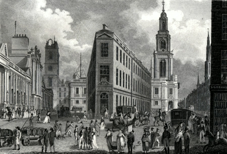 ANTIQUE PRINT: THE BANK, BANK BUILDINGS, ROYAL EXCHANGE & CORNHILL.