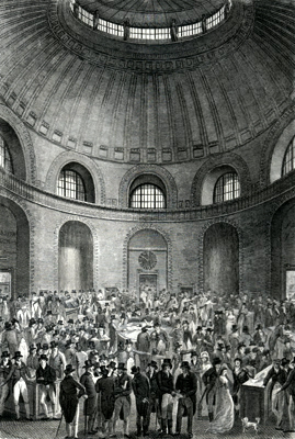 ANTIQUE PRINT: THE ROTUNDA IN THE BANK OF ENGLAND.