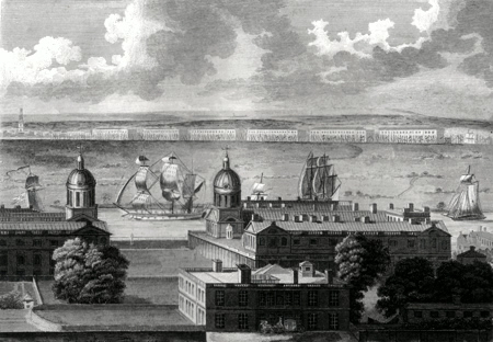 ANTIQUE PRINT: THE WEST INDIA DOCKS IN THE ISLE OF DOGS, WITH GREENWICH HOSPITAL IN THE FOREGROUND. DRAWN IN THE CAMERA OBSCURA OF THE ROYAL OBSERVATORY.