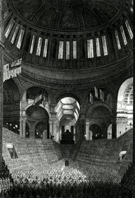 ANTIQUE PRINT: THE ANNUAL MEETING OF THE CHARITY CHILDREN IN ST. PAUL'S CATHEDRAL.