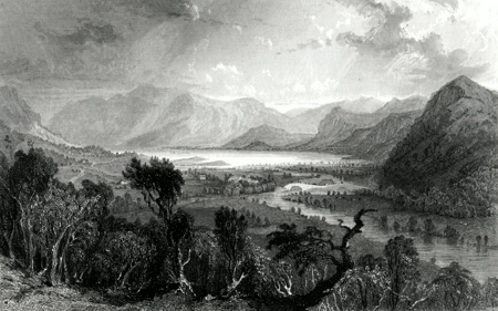 ANTIQUE PRINT: DERWENTWATER, & VILLAGE OF GRANGE, FROM THE ENTRANCE TO BORROWDALE.