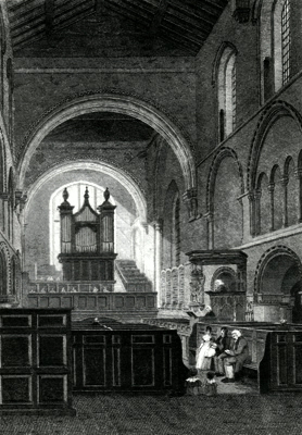 ANTIQUE PRINT: INTERIOR OF THE CHURCH OF ST. BARTHOLOMEW THE GREAT.