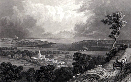 ANTIQUE PRINT: BRADING, LOOKING TOWARD ST. HELENS.