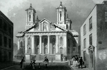 Antique print of St. John, Smith Square, London