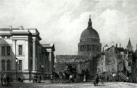 ANTIQUE PRINT: THE POST OFFICE & ST. PAUL'S. FROM ST. MARTIN'S LE-GRAND.