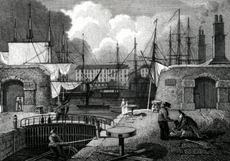 ANTIQUE PRINT: THE SHIPPING ENTRANCE, LONDON DOCKS.