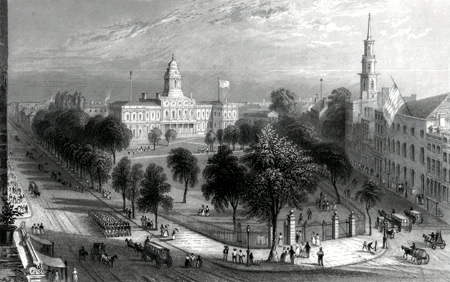 ANTIQUE PRINT: THE PARK AND CITY HALL, NEW YORK.