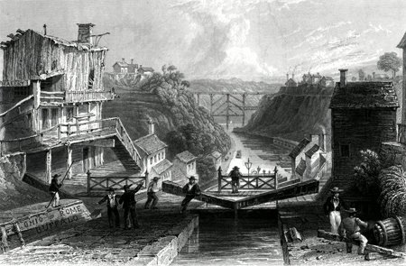 ANTIQUE PRINT: LOCKPORT, ERIE CANAL.