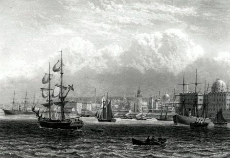 Antique print of Liverpool