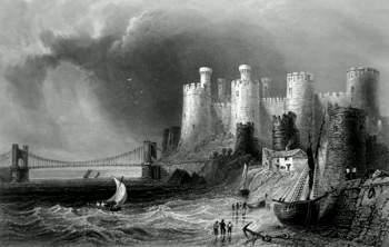 Antique print of Conway Castle, North Wales