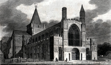 ANTIQUE PRINT: ROCHESTER CATHEDRAL.