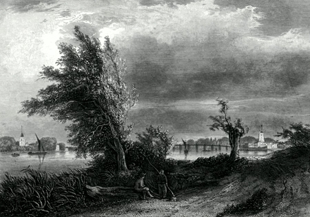 ANTIQUE PRINT: FULHAM & PUTNEY, FROM THE SURREY SHORE.