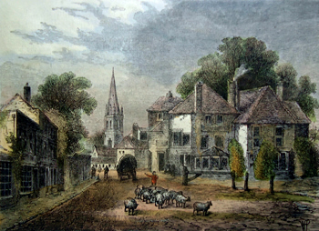 ANTIQUE PRINT: THE GATE-HOUSE, HIGHGATE, IN 1820. (FROM AN ORIGINAL SKETCH).