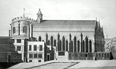ANTIQUE PRINT: THE SOUTH EAST PROSPECT OF THE TEMPLE CHURCH.