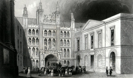ANTIQUE PRINT: THE GUILDHALL.