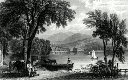 ANTIQUE PRINT: WINDERMERE LAKE, FROM THE FERRY HOUSE.
