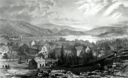 ANTIQUE PRINT: BOWNESS & WINDERMERE LAKE, WESTMORLAND.