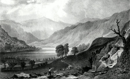 ANTIQUE PRINT: HAWES-WATER, FROM THWAITE-FORCE, WESTMORLAND.