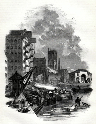ANTIQUE PRINT: 2. – RIVER WHARFS, AND ST. PETER'S CHURCH [LEEDS].