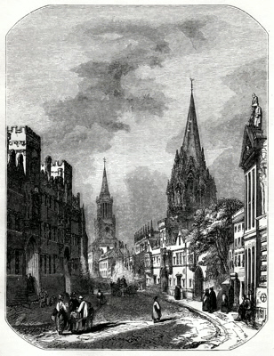 ANTIQUE PRINT: 2. – HIGH STREET [OXFORD].
